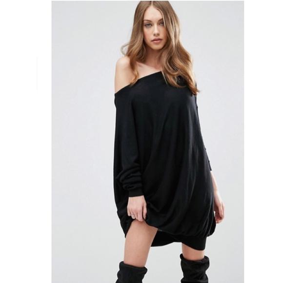 317c9a84b53 NWT ASOS Asymmetric Oversized Black Sweater Dress